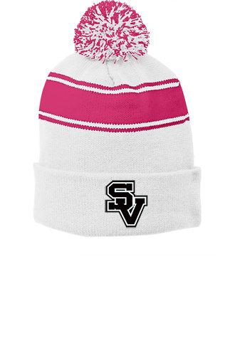 SVJuniorFootball-Pink Striped Pom Beanie