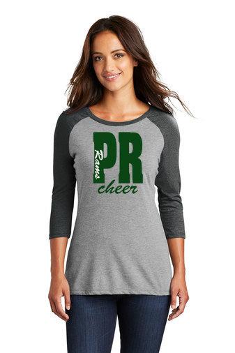 PRCheer-Women's Baseball Style Shirt-PR Rams Cheer Glitter Logo