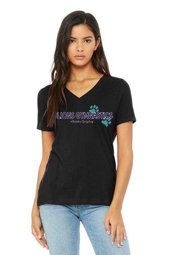 LionsGymnastics-Women's Short Sleeve V-Neck-Logo 2
