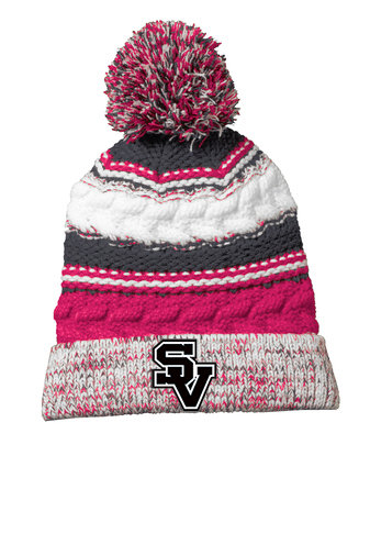 SVJuniorFootball-Pink Multi Striped Pom Beanie