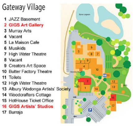 Map of Gateway Village, location of GIGS Art Gallery