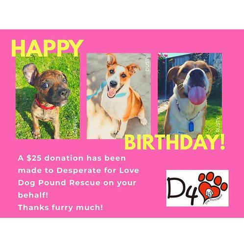$25 Birthday Donation Gift