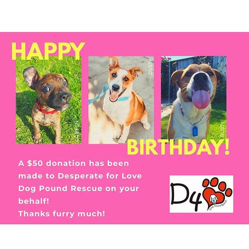 $50 Birthday Donation Gift