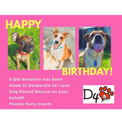 $10 Birthday Donation Gift
