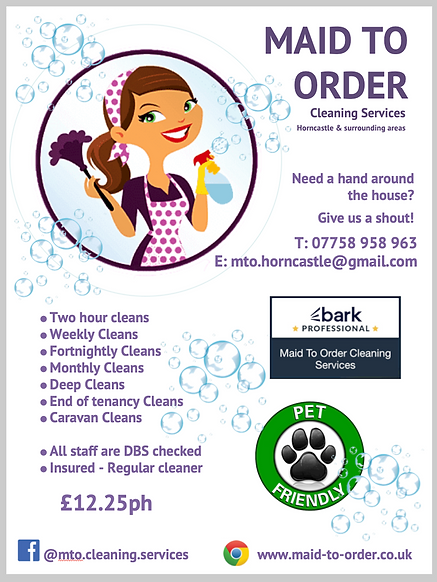 Maid to order cleaning services price list, Horncastle