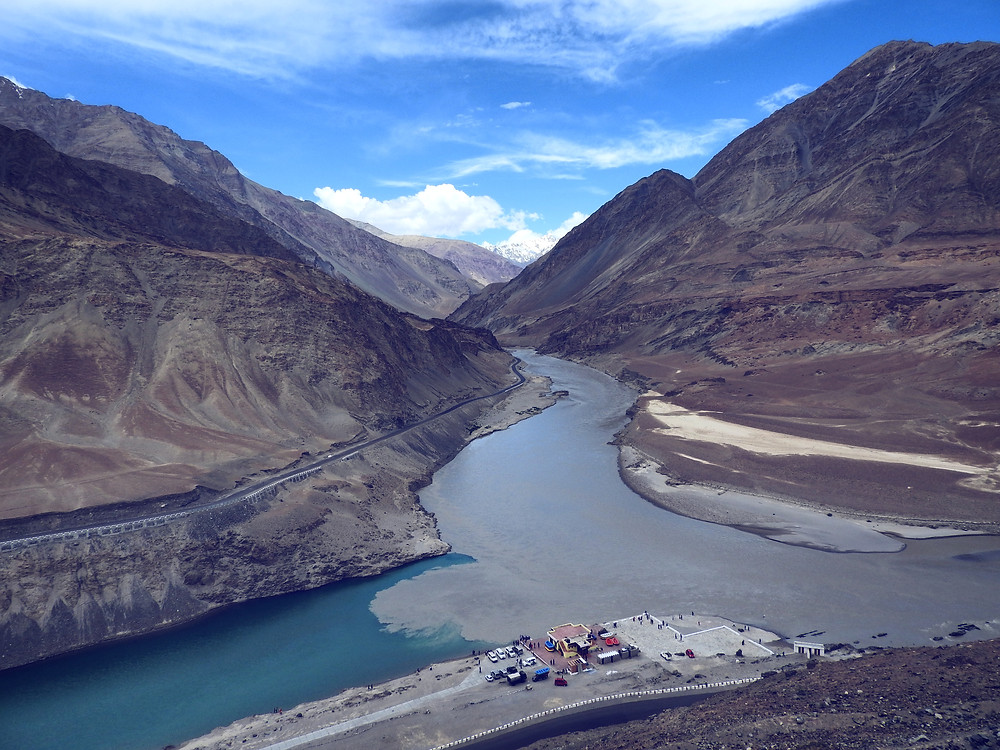 Confluence of Indus and Zanskar rivers in Ladakh Himalayas
