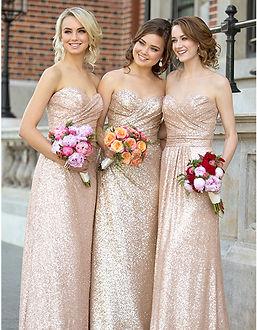 Gold Sequins Bridesmaids Dresses