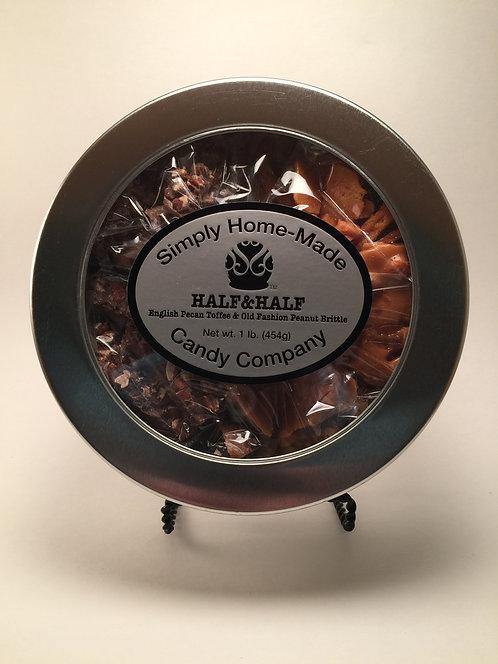Half&Half - (1/2 lb.) English PecanToffee/(1/2 lb.) Peanut Brittle. 1 lb.Total