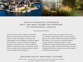 The 14th SCANCOR Phd Workshop on Institutional Analysis