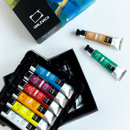 "Дизайн упаковки наборов красок ""Малевичъ"""