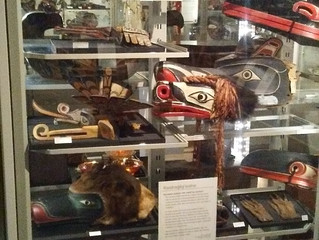 COVID-19 Lockdown Museum Item 20 - Display of Cedar Masks at the Museum of Anthropology, Vancouver,