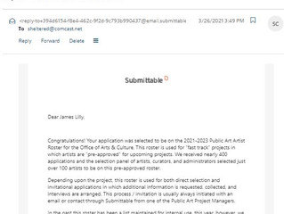 Good News! I've been included into the City of Seattle Public Art Artists Roster