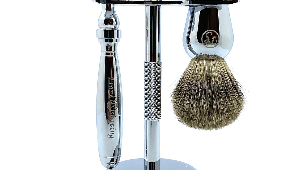 Frank Shaving 3 Piece Shave Set - Chrome