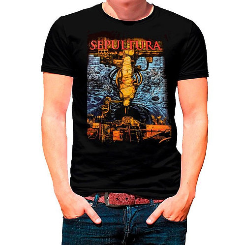 Camiseta Sepultura Chaos Preto Bomber BOST2