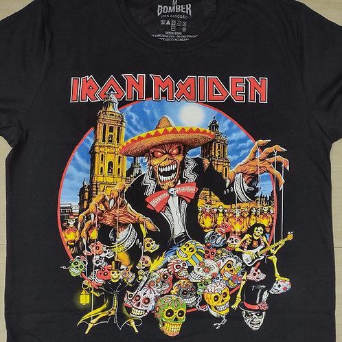 Camiseta Iron Maiden Mexicano Preto Bomber  BOIM1