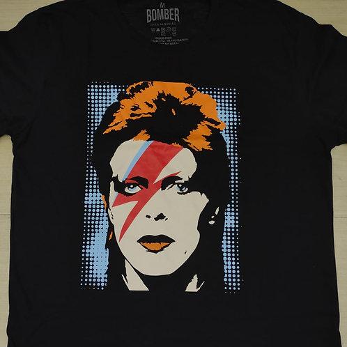 Camiseta David Bowie Rosto Preto Bomber BODB1