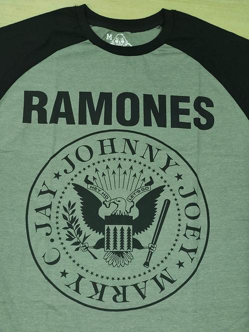 Camiseta Ramones Raglan Brasão Cinza Escuro Mr. Baboo MBRM1