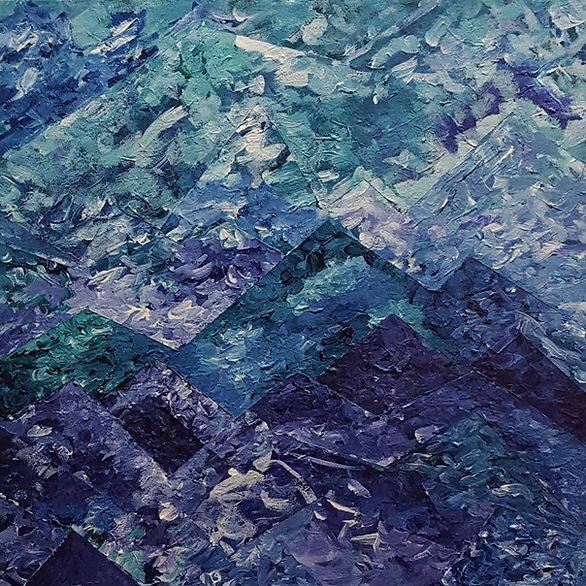 Abstract landscape painting on canvas in green, purple, blue, and white