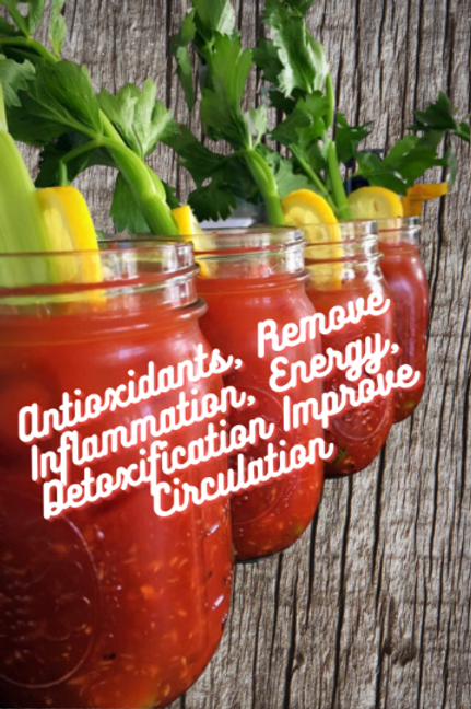Spicy Bloody Mary Cocktail Infused with Vitamin B12 - Detoxification, Energy boo