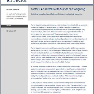 Factor-Based: An Alternative to Market Cap Weights