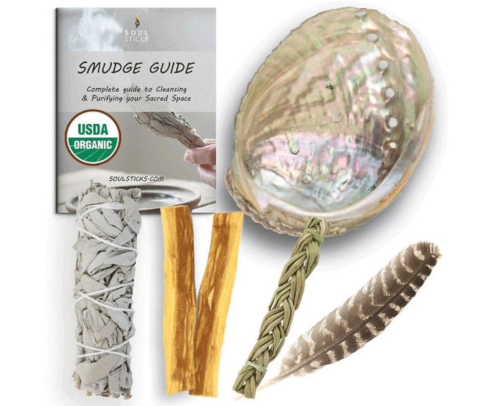 White Sage Smudge Starter Kit with USDA Organic Sage, Sweetgrass, Palo Santo, Shell, Feather & Guide