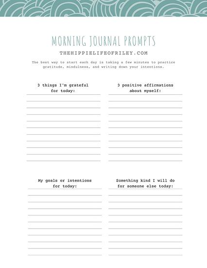 Morning Journal Prompt Printable Worksheet