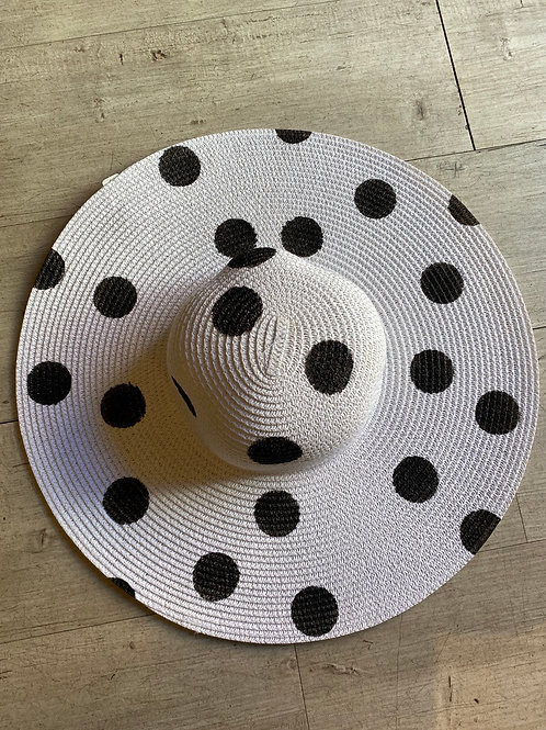 Polka dot wide brim beach hat