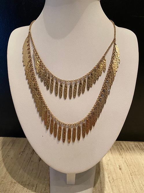 Multilayered hammered gold necklace