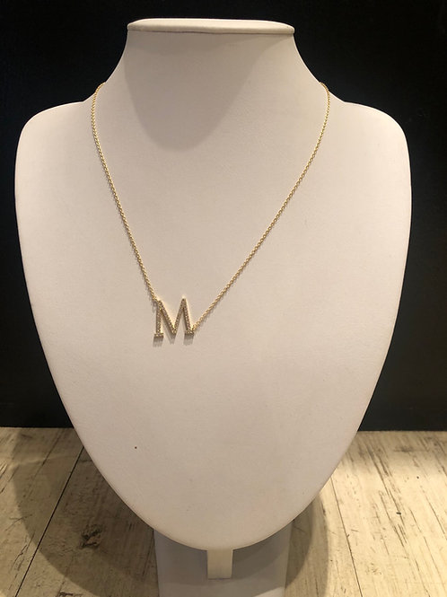 Blinged out sterling initial necklaces