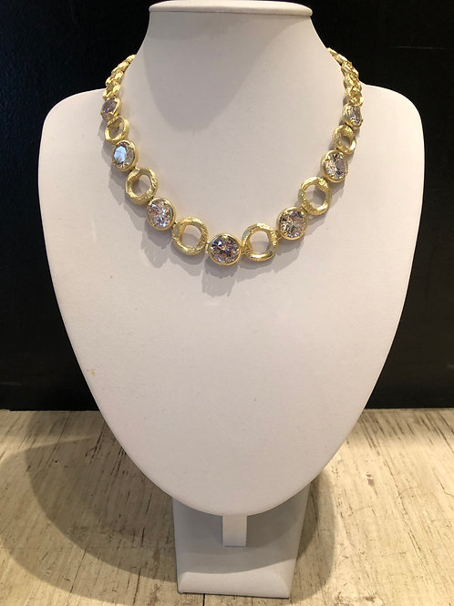 Brushed gold with round crystal magnetic necklace
