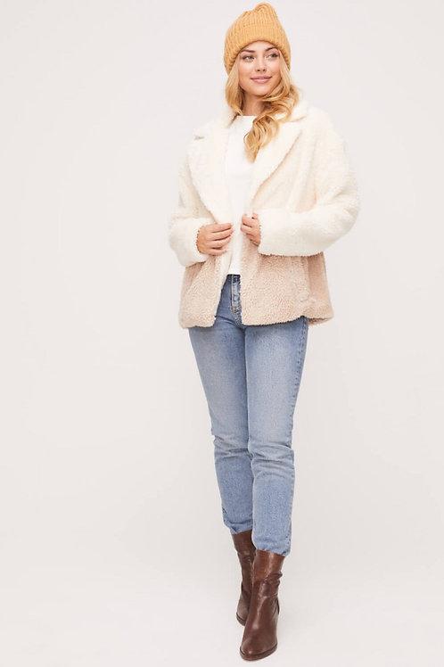 Two tone fuzzy jacket