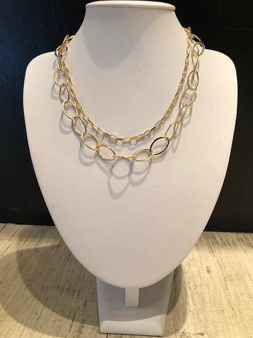 Layered chain and circle link necklace