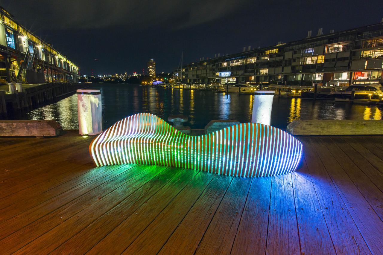 Vivid Sydney 2016_Walsh Bay_Light Walk_Exterminia_CREDIT Destination NSW_AW6567