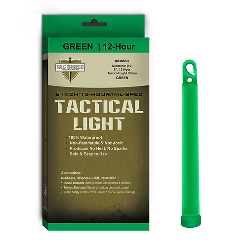 Tactical Light Stick - Green - 10 Pack