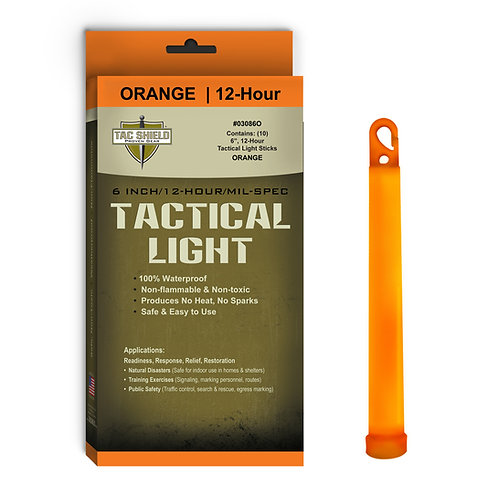 Tactical Light Stick - Orange - 10 Pack