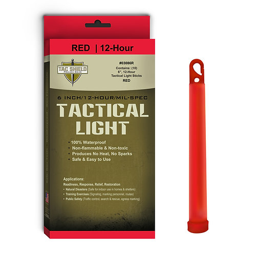 Tactical Light Stick - Red - 10 Pack