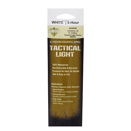 Tactical 8 Hour Light Stick - White - 2-Pack