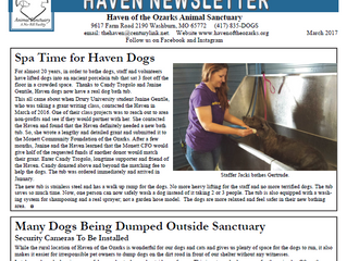 Haven Happenings -  March 2017 Newsletter