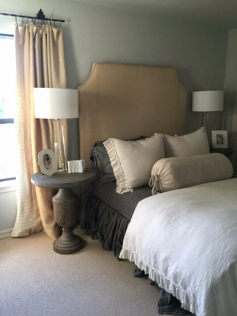 linen headboard, shams and bolster