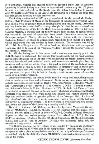 Cedric Thorpe Davie - Brief History of MusSoc