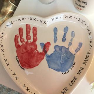 Heart plate hand print