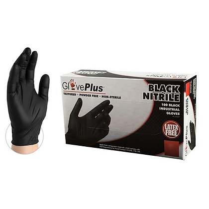 GlovePlus Black Nitrile Industrial Latex Free Disposable Gloves (Case of 1000)