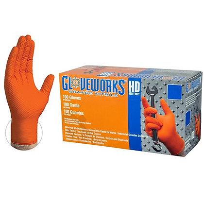 Gloveworks HD Orange Nitrile Industrial Latex Free Disposable Gloves (Case/1000)