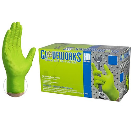 Gloveworks HD Green Nitrile Industrial Latex Free Disposable Gloves (Case/1000)