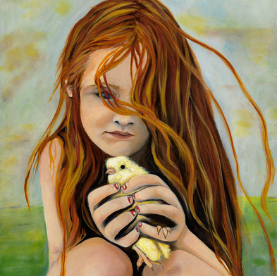 Farm Girl with Chick