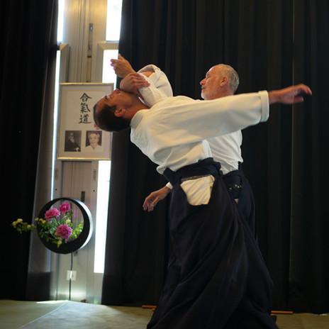 Démonstration d'une prise d'aïkido