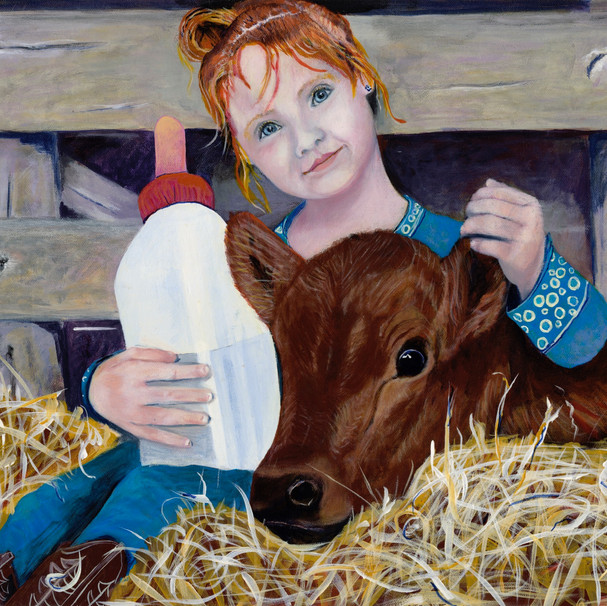 Farm Girl with Water Bottle
