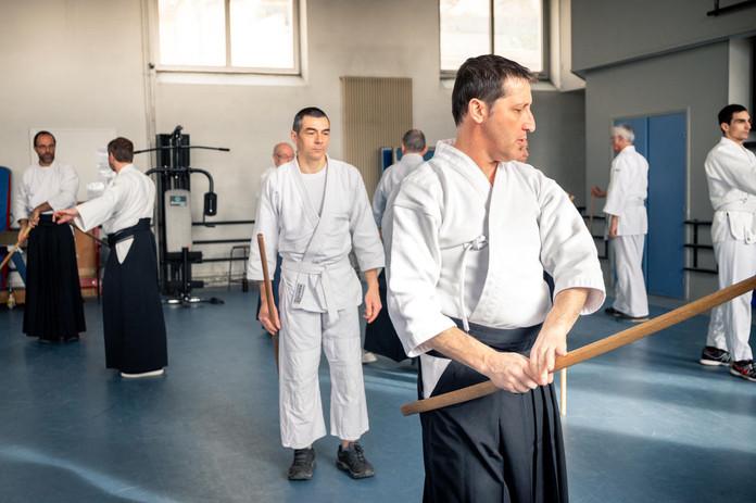 Elèves en cours d'aïkido