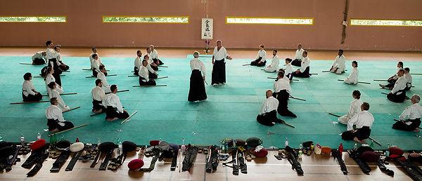 Elèves dans un cours d'aïkido