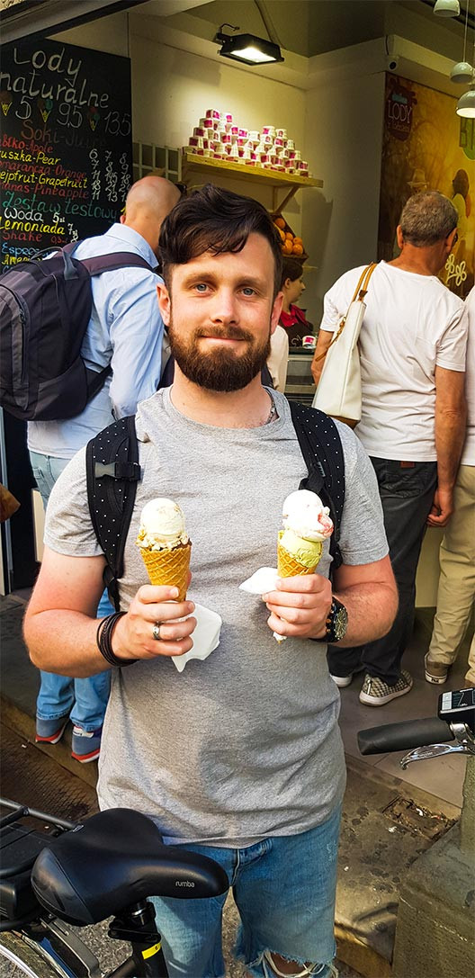 man holding two ice creams